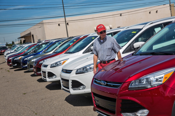 DETROIT, MI - SEPTEMBER 06:  Harry Lindback, of Dearborn Heights, MI, shops for cars at Bill Brown Ford Dealership on September 6, 2013 in Livonia, Mi...