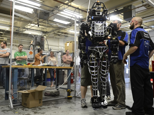 WORCESTER, MA - JULY 23: Worcester Polytechnic Institute students received ATLAS, a 330-lb. humanoid robot, that they will use to compete in a Darpa r...
