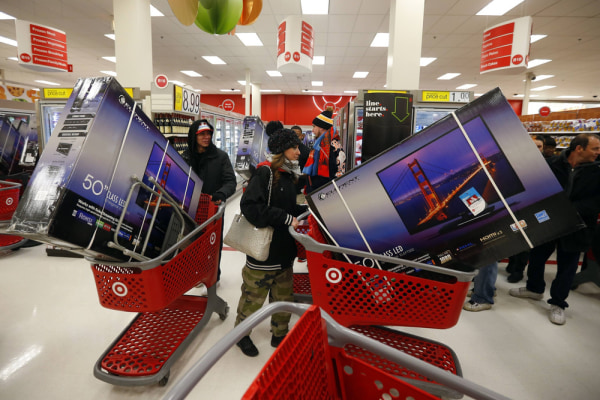 Yeah, but did they haggle for them? Holiday shoppers line up with televisions on discount at the Target retail store in Chicago, Illinois, November 28...