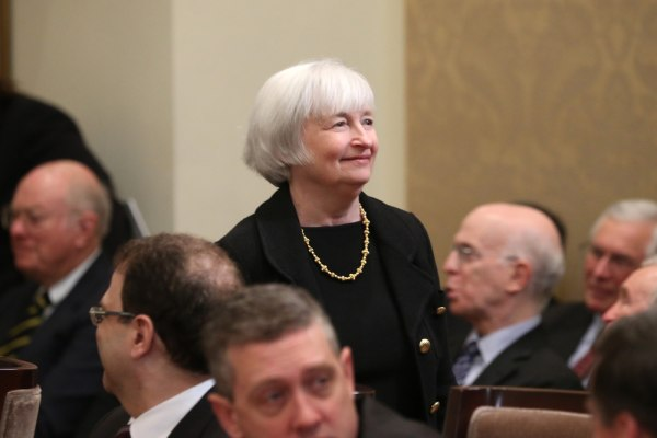 Why is this woman smiling? Because she's taken one step closer to being the head of the Federal Reserve.