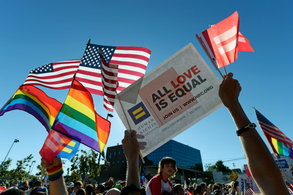 WEST HOLLYWOOD, CA - JUNE 26:  Same-sex marriage supporters celebrate the US Supreme Court ruling during a community rally on June 26, 2013 in West Hollywood.