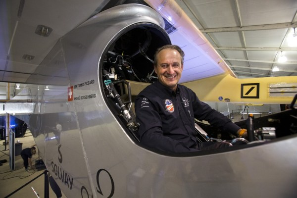 Andre Borschberg, one of two pilots of the Solar Impulse plane, poses for a portrait in the cockpit of the purely solar-powered plane at the Smithsoni...