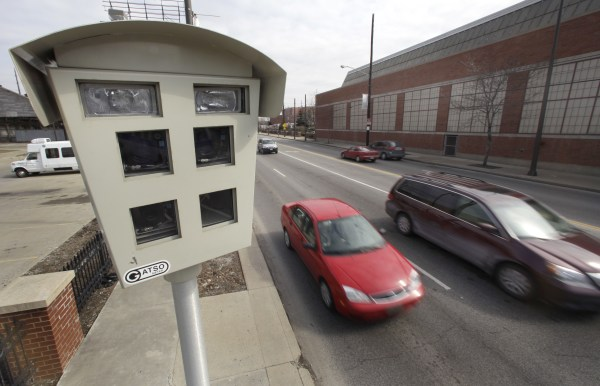 Speeding ticket camera near downtown Cleveland