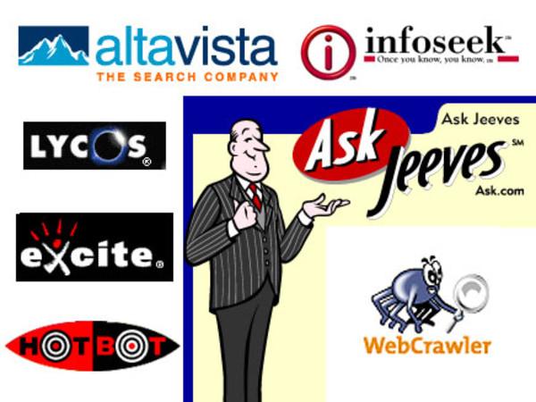 AltaVista, Infoseek, Lycos, Excite, Ask Jeeves, HotBot logos