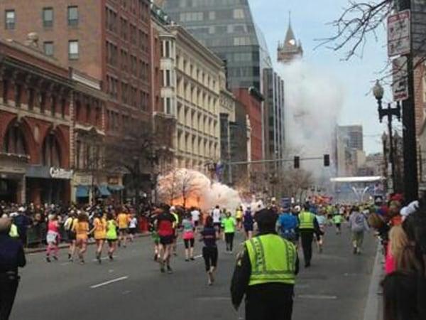 "Dan Lampariello tweeted ""Explosion at coply pic.twitter.com/EqKbGeWhha"" at approximately 2:51 p.m. April 15, 2013. During the Boston Marathon. (Dan La..."