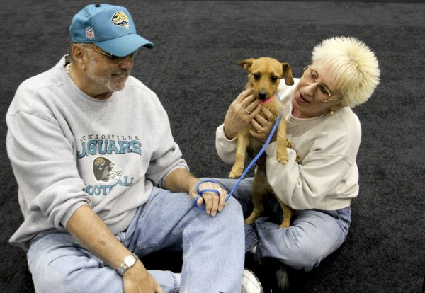This Dec. 11, 2012 photo provided by MGM Resorts International shows MGM Grand poker dealer Dar Reike holds her adopted dog, Alexia, next to her husba...