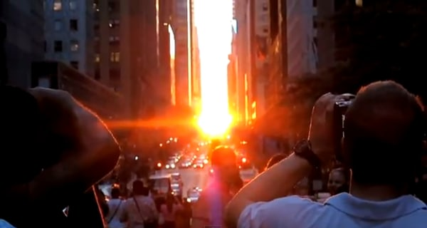 "YouTube screenshot of ""Manhattanhenge"" sunset effect"
