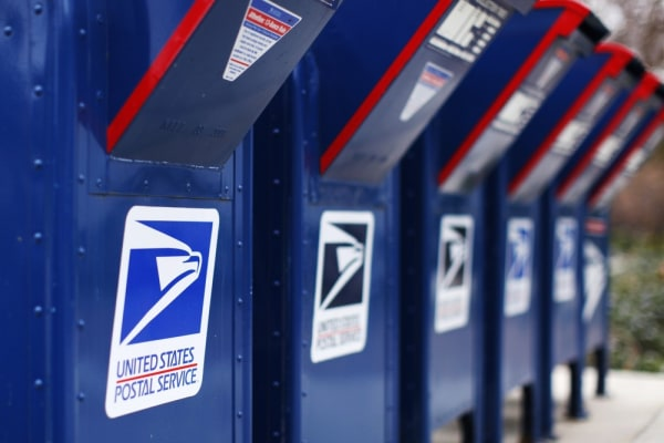 A view shows U.S. postal service mail boxes at a post office in Encinitas, California in this February 6, 2013 file photo.