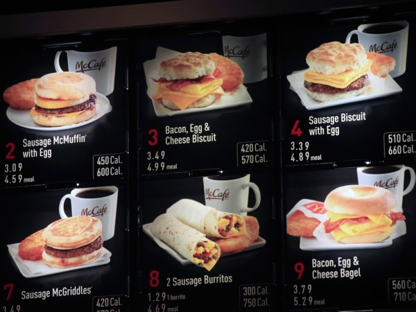 Items on the breakfast menu, including the calories, are posted at a McDonald's restaurant, Wednesday, Sept. 12, 2012 in New York. McDonald's restaura...