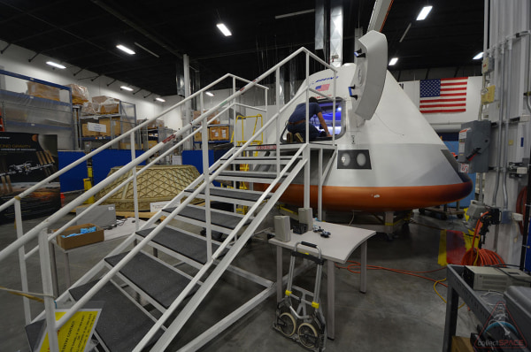 Boeing's new model of the CST-100 spacecraft as seen at the company's Houston Product Support Center in Texas.