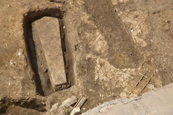An intact stone coffin found in the ruins of Grey Friars, the monastery where Richard III was buried.
