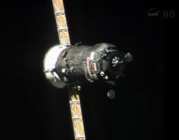 The Progress 52 spacecraft approaches the International Space Station for docking on July 27, 2013.