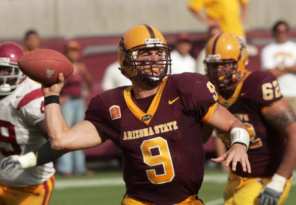 TEMPE, AZ - OCTOBER 1: Quarterback Sam Keller #9 of the Arizona State Sun Devils passes the ball during the game against the USC Trojans on October 1,...