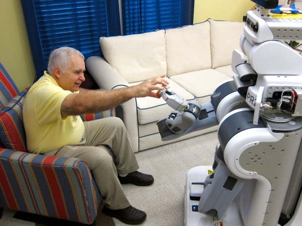 Georgia Tech researchers asked elderly adults how they felt about robots like PR2 fetching and handing over medicine bottles.