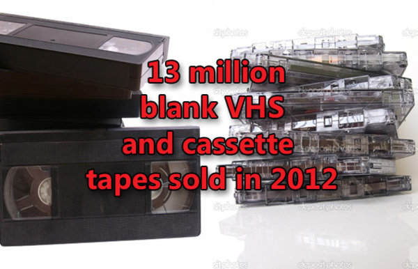VHS and cassette tapes