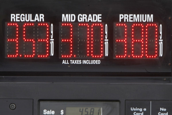 Gas prices are displayed on Friday, April 19, 2013 in Montpelier, Vt.