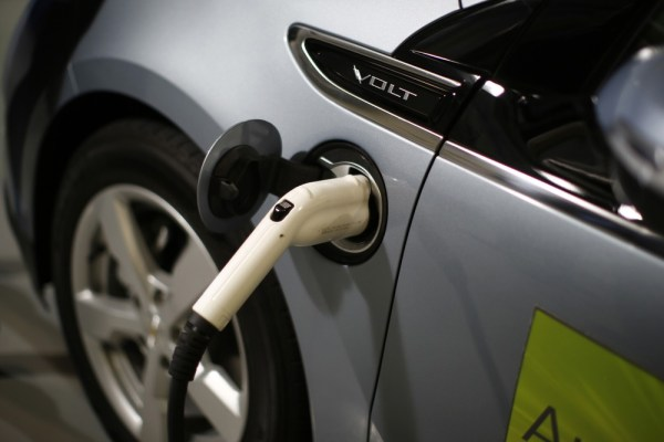 A Chevy Volt electric car is shown being charged during a tour of the Argonne National Lab near Chicago by U.S. President Barack Obama March 15, 2013.
