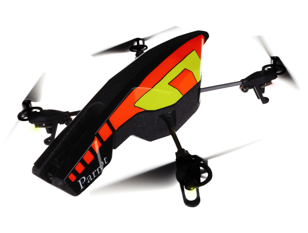 Parrot's AR Drone 2.0 comes with its own API and can be with a smartphone.