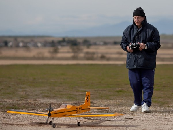A remote controlled model airplane near Madrid, Spain.