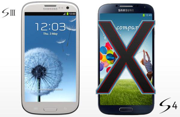 Samsung Galaxy S III, left and S 4