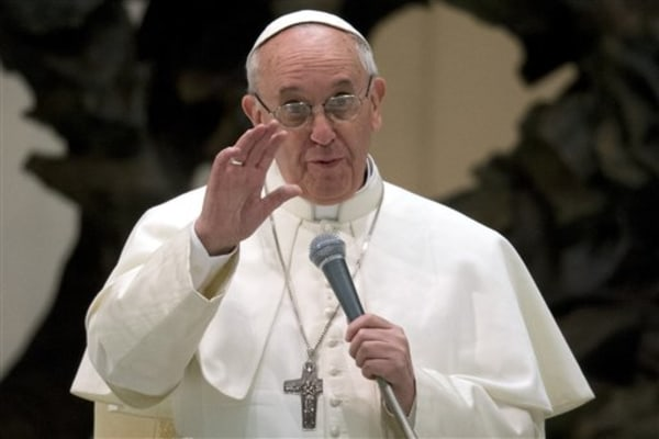 Pope Francis speaks during a meeting with the media at the Pope VI hall, at the Vatican, Saturday, March 16, 2013. Pope Francis offered intimate insig...