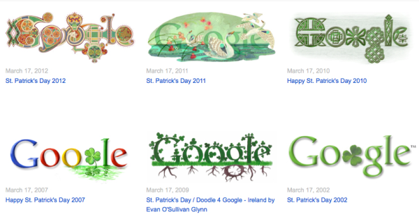 Other St. Patrick's Day Google Doodles