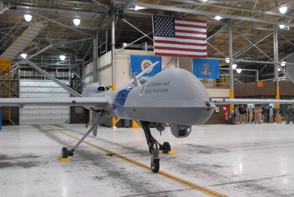 This U.S. Customs and Border Protection Predator B drone waits at the Grand Forks Air Force base in North Dakota.