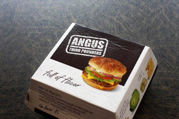Pictured is the exterior of a McDonald's Angus Third Pounder hamburger in carton purchased at a Chicago area McDonald's fast food restaurant Friday, M...