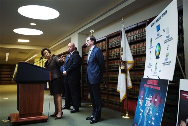 Loretta Lynch, United States Attorney for the Eastern District of New York, speaks at a news conference in New York, May 9, 2013. REUTERS/Lucas Jackso...