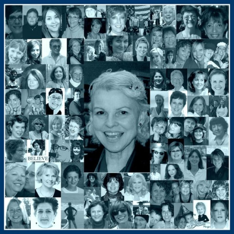 Michal Poe in the center of a collage of her breast cancer support group friends.