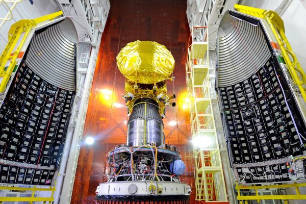 The Mangalyaan orbiter is mounted on top of the PSLV-C25 fourth stage and surrounded by its fairing at the Satish Dhawan Space Center in Sriharikota, ...