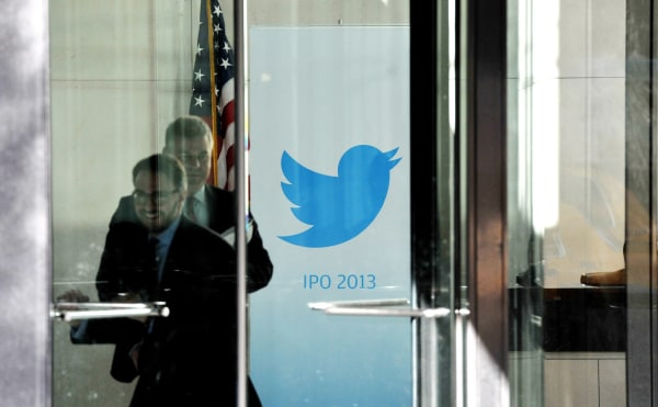 epa03924586 A view of a banner for the social networking and micro-blogging site company Twitter at the offices of JP Morgan Chase in New York City, N...