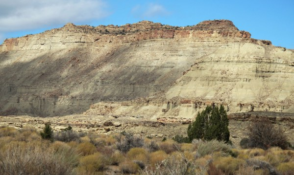 Cliff beneath which fossilized skeleton of newly discovered dinosaur was found