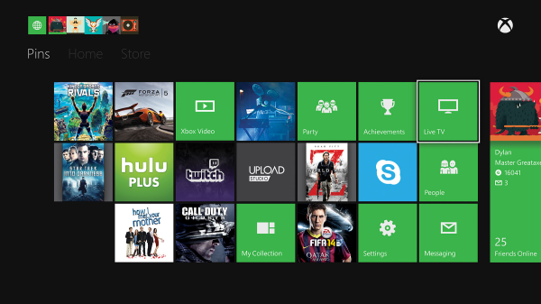 Pinned apps, games and files on Xbox One home screen.