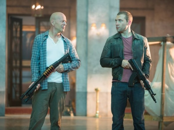 "Like father, like son: Bruce Willis' John McClane and his son Jack team up in ""A Good Day to Die Hard."""