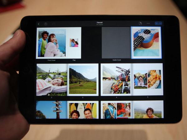 iPad Mini with Retina screen showing iPhoto