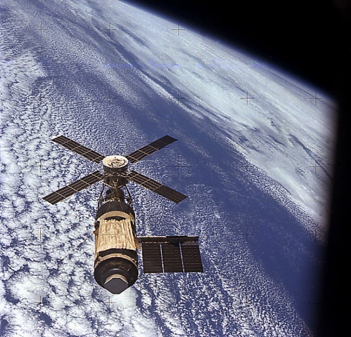 Skylab astronauts took this photograph as they approached the orbiting laboratory on the the third and final mission, known as Skylab 4, in November 1973.