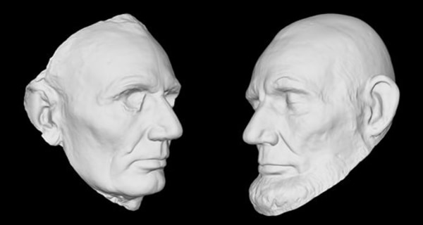 This undated handout image provided by the Smithsonian Institution shows a 3-D rendering of Abraham Lincoln's life mask, held at the Smithsonian's Nat...