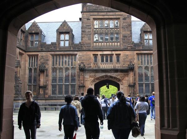 A group walks on a tour at Princeton University Wednesday, May 9, 2012., in Princeton, N.J. (AP Photo/Mel Evans)