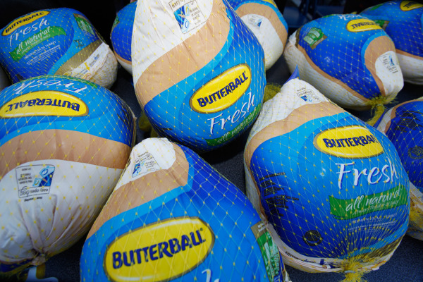 """Frozen Butterball Turkeys are shown before being distributed to needy families by boxing promoter Don King  during a stop on his """"Turkey Tour,"""" Thursd..."""