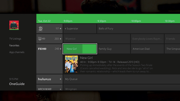 Xbox One's OneGuide shows you everything playing on live TV, plus your favorite video content from apps.