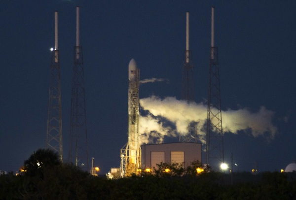 Image: SpaceX Falcon on pad                                                                            The unmanned Space Exploration Technologies' Falcon 9 rocket is seen before liftoff at Cape Canaveral, Florida November 28...