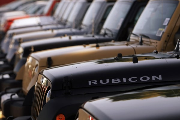 A row of Jeeps are seen in Gaithersburg, Md., in this May 1, 2013 file photo.