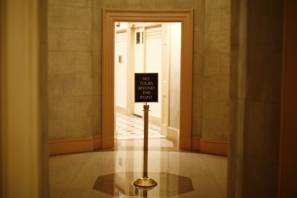 Stuck in limbo. A view of a sign stand at the U.S. Capitol in Washington October 7, 2013.
