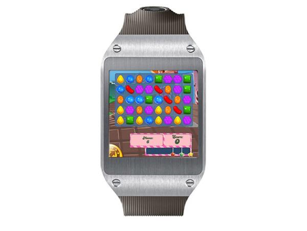 Candy Crush, shown on the Samsung Galaxy Gear watch.