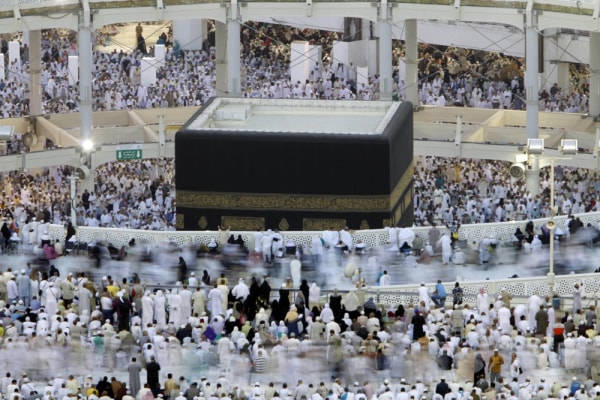 Muslim pilgrims circle the Kaaba as they pray inside the Grand Mosque in the Muslim holy city of Mecca, Saudi Arabia