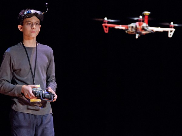 (10/11/2013) Riley Morgan, 14, flies a drone he made at the DARC conference's AfterDARC session in NYU's  Skirball Center in New York, N.Y, on Friday,...
