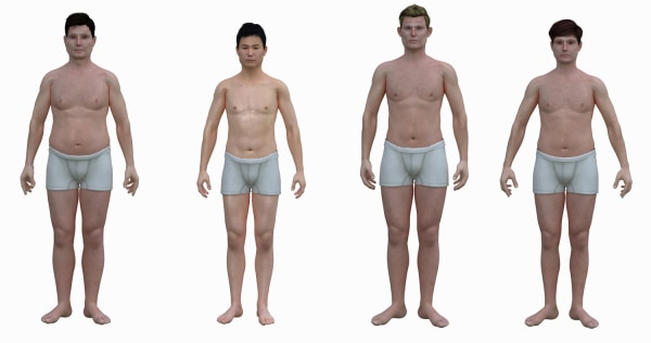 An illustration shows the average body of males from different countries.                   ---For Jane Weaver story---