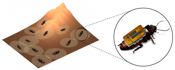 Artist's conceptualization of how a swarm of roaches could help map an area.