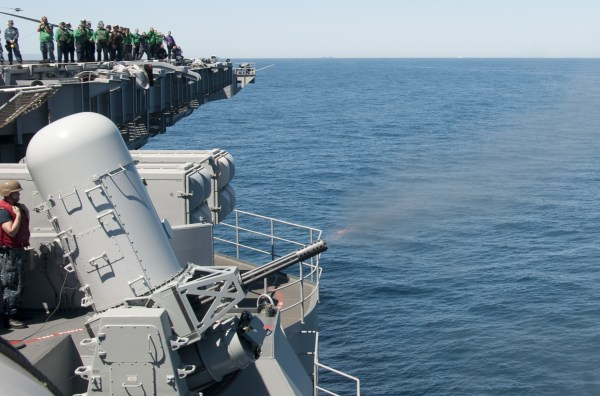 130418-N-LN833-417                   PACIFIC OCEAN (April 18, 2013) The MK 15 Phalanx close-in weapon system (CIWS) on the flight deck of the aircraft carrier USS Carl ...